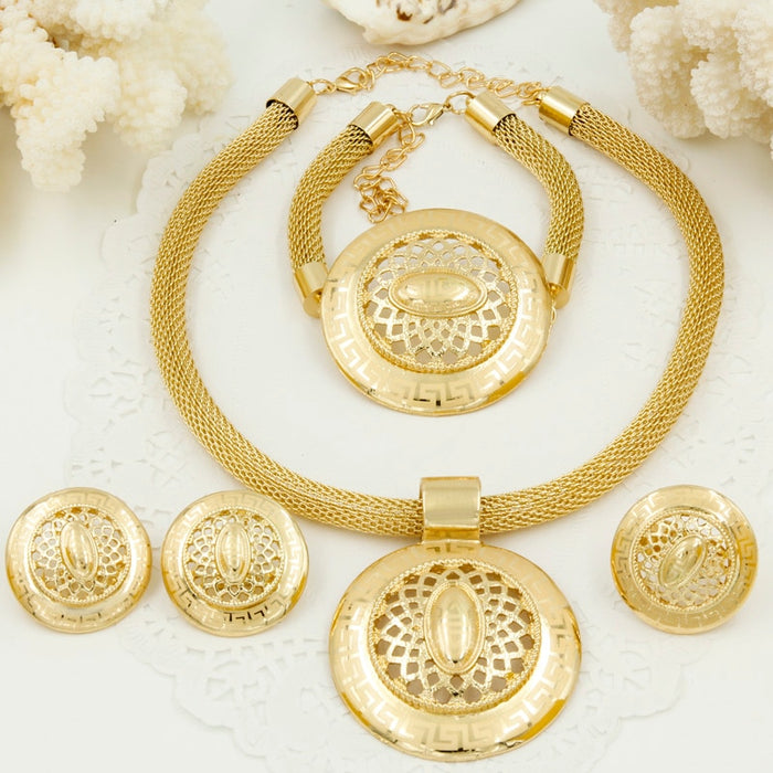 Liffly Fashion Bridal Costume Jewelry Charms Dubai Gold Jewelery Sets for Women African Big Necklace Wedding Party Jewelry