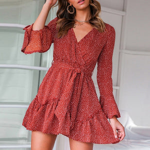 Lipswag 2XL Sexy Polka Dot Print V-neck Mini Boho Dress Women Fashion Lace Up Ruffled Long Sleeve Dress 2019 Autumn A-Line Dress