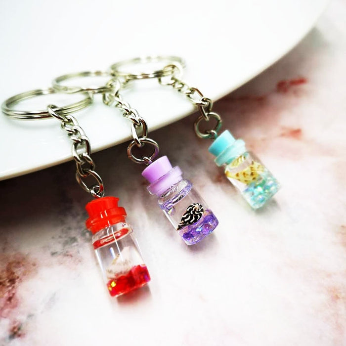 Little Bottle Powder Moving Liquid Sea Shell Key Ring Keychain Glitter Quicksand Sequin Key Chain Car Key Pendant Creative Gift