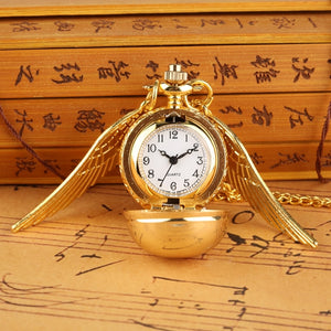 Little Cute Necklace Top Luxury Smooth Golden Snitch Ball Quartz Pocket Watch Pendant with Chain Gifts for Men Women Kids reloj