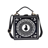 Lolita Black Alice in Wonderland Shoulder Handbag Box Designer Zipper Bag Messenger Handbag Shoulder Tote Women Girl Bag Gift