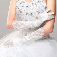 Long Full Finger Satin Bridal Wedding Gloves Elbow Length Lace Appliqued