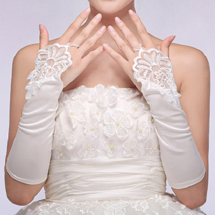 Long Gloves Lace Women Fingerless Trim Party Elbow Length Elegant gloves