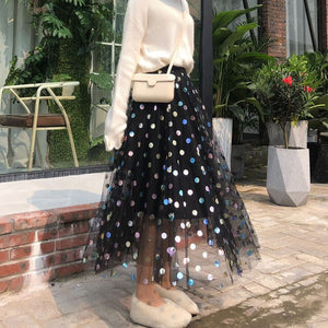 Long Pencil Black Tulle High Waist Skirt Harajuku Womens Clothing Polka Dot Vintage New Arrival 2019 Stretch Fashion Midi Skirt