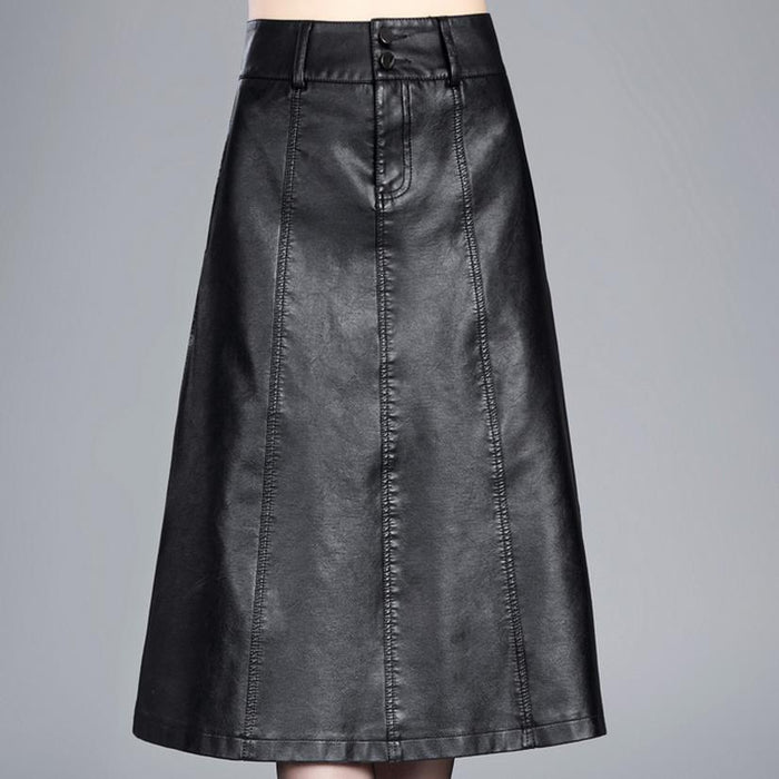 Long Skirts Womens Hight Waist Maxi Skirt PU Leather Swing Skirt Black