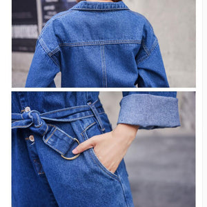 Long Sleeve Cowboy Coveralls Streetwear Denim Overalls Women Autumn Bodysuit High Waist Jeans Romper Wide Leg Jumpsuit A9210