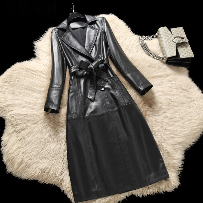 Long style natural sheepskin leather jacket women notched collar slim