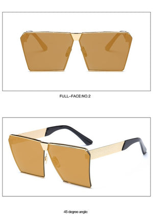 LongKeeper Oversized Square Rimless Sunglasses Women Men Mirror Flat top Big Glasses Brand Designer Sun Glasses For Female 283