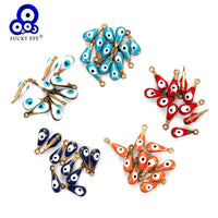 Lucky Eye 20pcs/lot Evil Eye Beads Charms Bracelet & Bangle Jewelry Accessories Colorful Water Drop Pendant For Necklace EY4996
