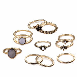 Lureme Vintage Antique Gold Simple Flowers Knuckle Stacking Band Midi Mid Ring Set of 10pcs