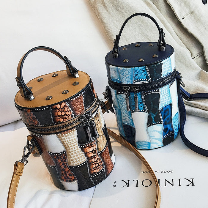 Luxury Brand Cylinder Bag 2018 Autumn New Women Fashion Rivet Diagonal Cross Bucket Bag Personalized Animal Print Shoulder Bag