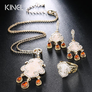 Luxury CZ Zircon Vintage Jewelry Sets Enamel Necklace Earrings Rings For Women Gold Color Unique 3Pcs Crystal Turkish Jewelery
