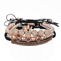 Luxury CZ polygon ball crown Charm copper bead Macrame handmade men Bracelets set bracelets & bangles for Men Jewelry