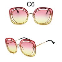 Luxury Rimless Sunglasses Women Original Brand Designer Oversized Square Clear Sun Glasses See Through Shades Pierced Eyewear