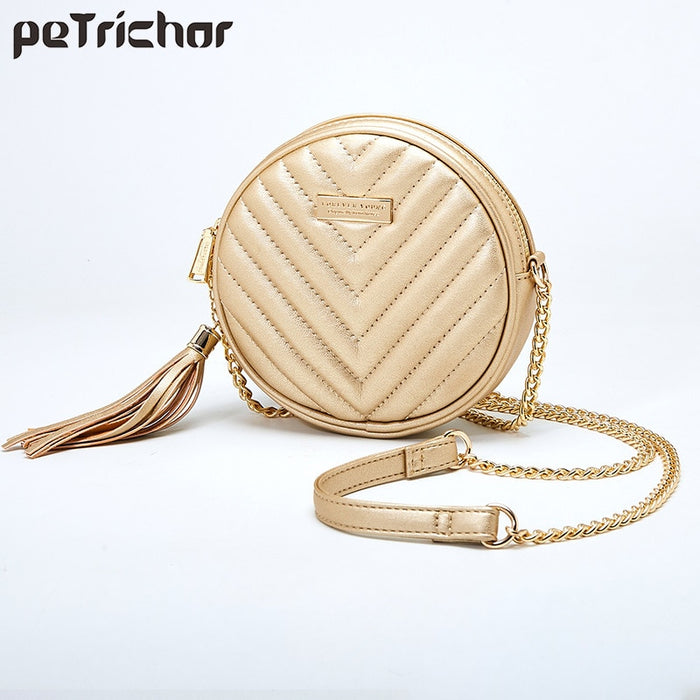 Luxury Women Tassel Shoulder Bag Soft Leather Small Round Handbag Female Circular Women's Crossbody Messenger Bags Ladies Purse