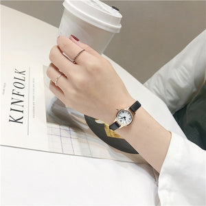 Luxury women's fashion exquisite roma retro watches elegant ladies design small wristwatches vintage leather female dress watch