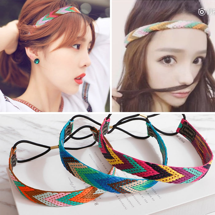 M MISM Ethnic Boho Embroidery Headbands For Girls Women Vintage