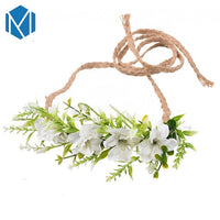 M MISM Flower Headband DIY Wreath Beach Wedding Party Belt Bohemian Hair Accessories For Women Bride Girls Diademas Para Mujer