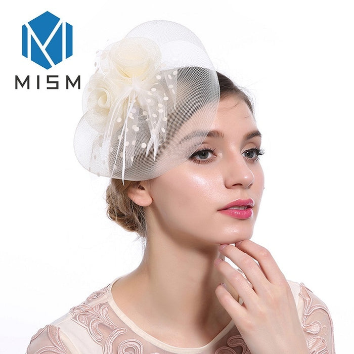 M MISM Vintage Hair Clips Womens Wedding Dance Flowers Fascinator Mesh Veil Hair Ornaments Headwear Hairpins Hair Accessories
