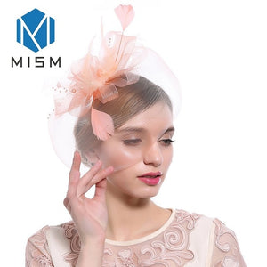 M MISM Women Fascinator Veil Hair Accessories Feather Flower Bead Cocktail Party Hair Clip Elegant Vintage Fancy Hair Bands Hoop
