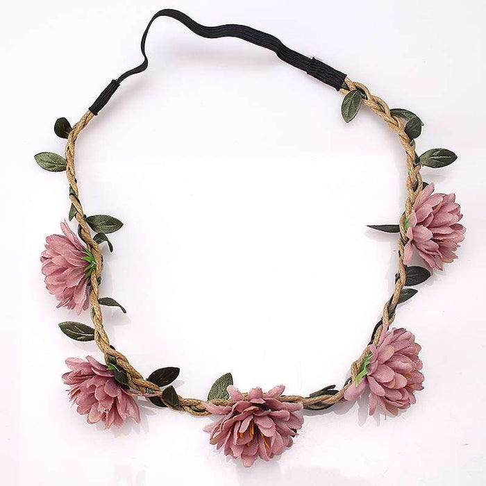 M MISM Women Wedding Flower Headband Girls Boho Flowers Headwear Children Headbands Hair Accessories Bride Wreath Beach Garland
