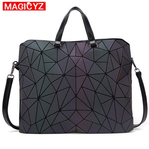 MAGICYZ holographic Laptop Bag triangle Geometry Notebook Bag Luminous Laser Handbags Briefcase women Shoulder Bags