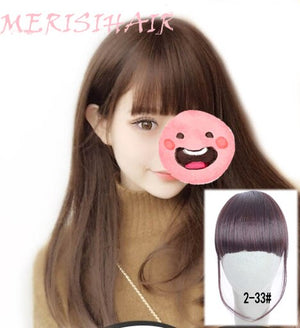 MERISI HAIR Clip In Hair Bangs Synthetic Air Bangs Thin Invisible Extension Straight Front Neat Wig For Women