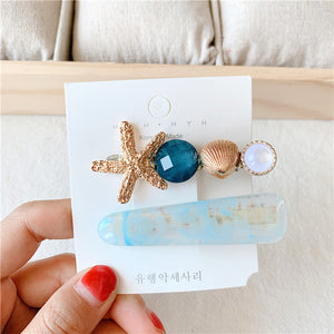 MISM 2/3PCS Alloy Hair Clips Set Candy Color Star Shell Headwear Gold Hairpin