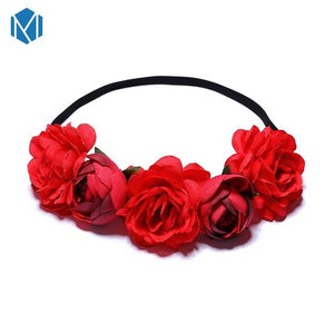 MISM Rose Garland Women Hair Bands Crown On The Head Bohemia Flower Wreath For Girls Bride Bridesmaid Accessoires Cheveux Femme
