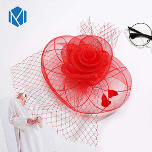MISM Women Wedding Fascinator Hairpins Girls Feather Hair Accessories Hair Clips Hoop Elegant Mesh Veil Hair Ornaments Headband