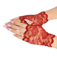 MISSKY Free Shipping White Red Black Short Gloves Wrist Length Fingerless Lace Gloves Accessories