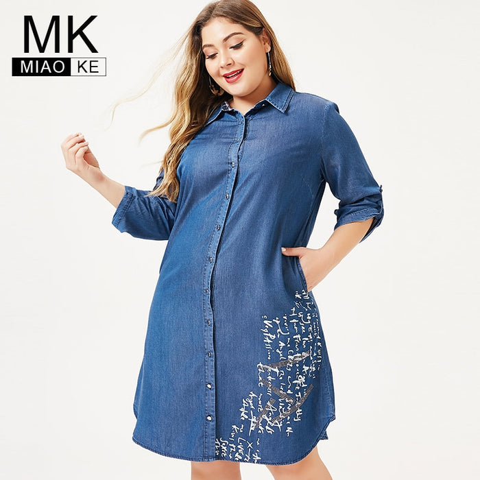 MK 2019 autumn Plus Size womens denim Shirt dress fashion Ladies femal elegant embroidery dresses woman party night