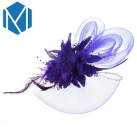 MMISM Wedding Party Fascinator Hair Clips Women French Veiling Cocktail Hat Mesh Headpiece Classic Bridal Floral Church Hairpins