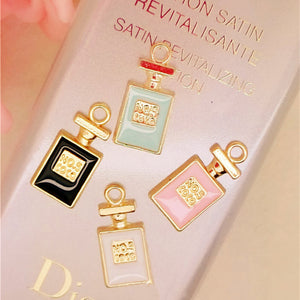 MRHUANG 10pcs/lot perfume bottle floating Enamel Charms Alloy Pendant fit for necklaces bracelets DIY Female Fashion Jewelry