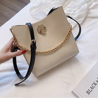 MSGHER Casual Bucket Women Bags Female Chain Shoulder Bag Classic Swagger Handbags Hasp Crossbody Bags for Women
