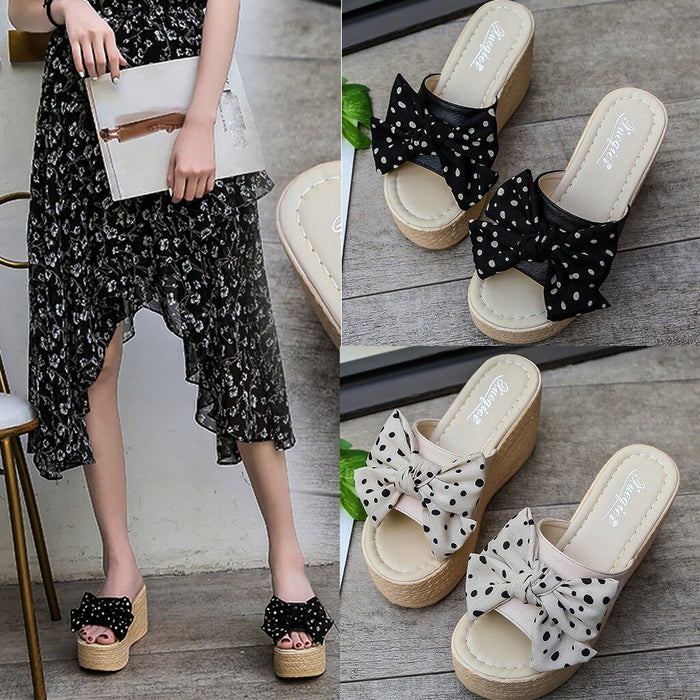 MUQGEW Women Polka Dot Bow Knot Peep Toe Platform Wedges Sandal Casual Rome Platform Simple Shoes Zapatos De Mujer 2019