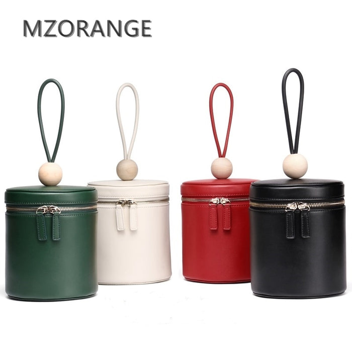 MZORANGE New Original Design Real Cow leather Women Handbag Simple Fashion Lady Barrel-shaped Bag Portable Women Casual Tote