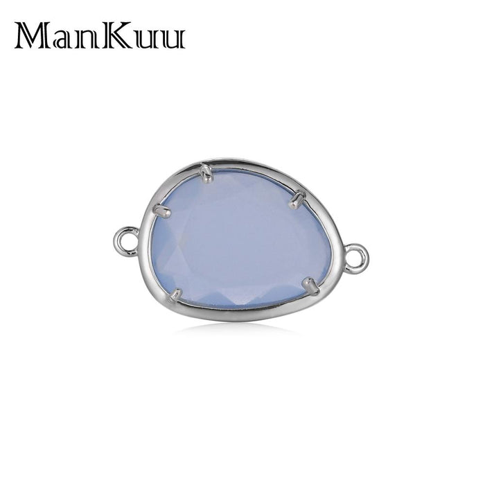Mankuu Candy Crystal Connector Silver Plating Small Crystal Connector Charm For Jewelry Making DIY Bracelet/Necklace Accessories