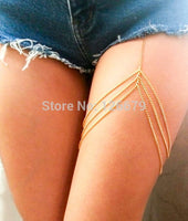 Many Stylishes Gold Multi-layers Leg Chain Waist Thigh Chain Body Chain Belly Chain Leg Harness Jewelry Accessary Women