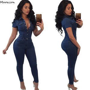 Maoxzon Fashion Skinny Denim Rompers Womens Jumpsuits Pants New Sexy Short Sleeve Slim One Piece Jeans For Ladies Plus Size 3XL