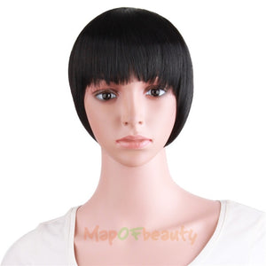 "MapofBeauty Natural Blunt Bangs Clip-In Dark Light Brown Black Synthetic False Hair Fringe Pure Colors 8"" Flat Bang Hair Pieces"