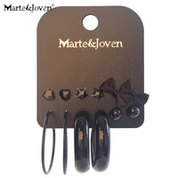 Marte&Joven 6 Pairs Multiple Big Circle Earring Classic Black Star/Heart/Bowknot Stud Earrings Set for Women Girl Birthday Gifts