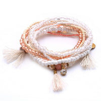 Match-Right Women Bohemia Jewelry of Multilayer Elastic Weave Set Bracelets & Bangles with Tassel Charm Wrap Bracelet LG-073