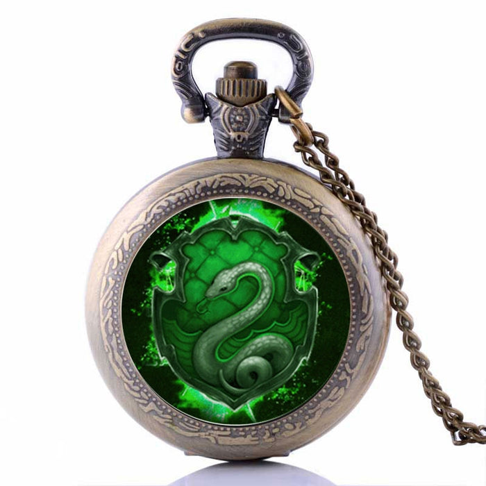 Medium Size Harry Potter SLYTHERIN Snake Mens Womens Quartz Pocket Watch Analog Pendant Necklace Chain relogio de bolso