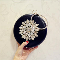 Meloke 2019 round shaped evening clutch luxury diamond sunflowers banquet bags with chain clutch purse for ladies MN759