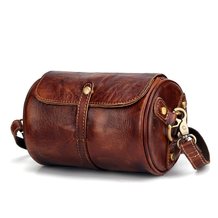 Men Women Cross Body Barrel-Shaped Bag Small Retro Designer Brush Color Genuine Leather Purse Single Messenger Shoulder Bags