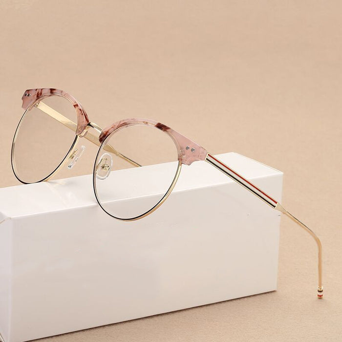 Metal Vintage Classic Clear Lens Prescription Eyewear Women Round Eyeglasses Frame spectacles glasses transparent Frame