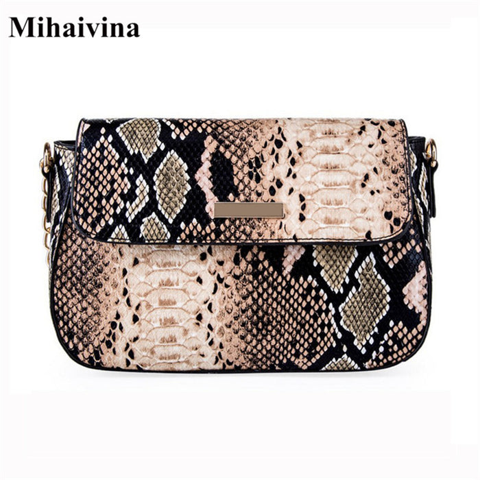Mihaivina Python Crossbody Bag For Women Fashion Snake PU Leather Shoulder Bags Female Chain Messenger Bag Women Handbag Bolsa