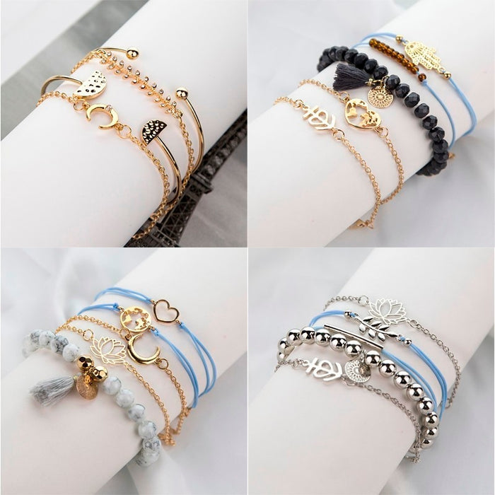 Minimalism Flower Leaf Bracelet Women Bracelets White Black Beads Tassels Bracelets Sets Wedding Jewelry Accessories