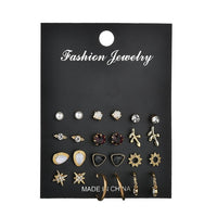 MissCyCy 12 Pairs/Set Unique Design Vintage Small Stud Earrings Set For Women Punk Alloy Leaves Star Earrings Jewelry